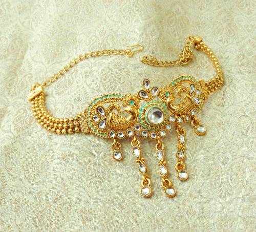 Craftsvilla Yellow Gold Finish Alloy Metal Designer Kundan Bajuband Armlet