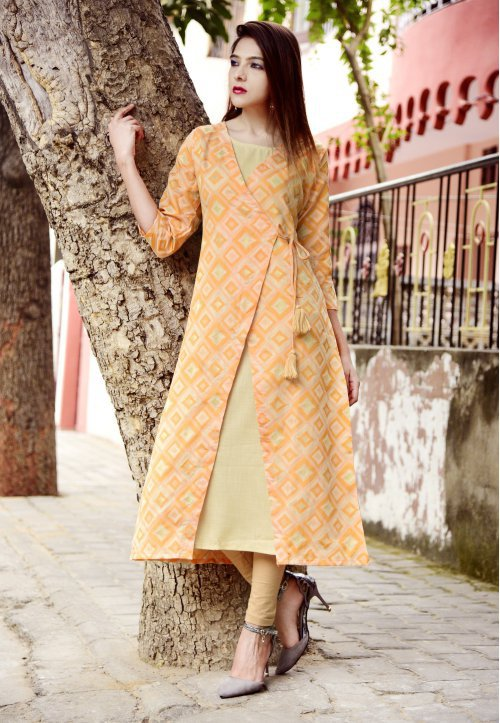 Orange Chanderi Embroidered Calf Length Angrakha Kurti