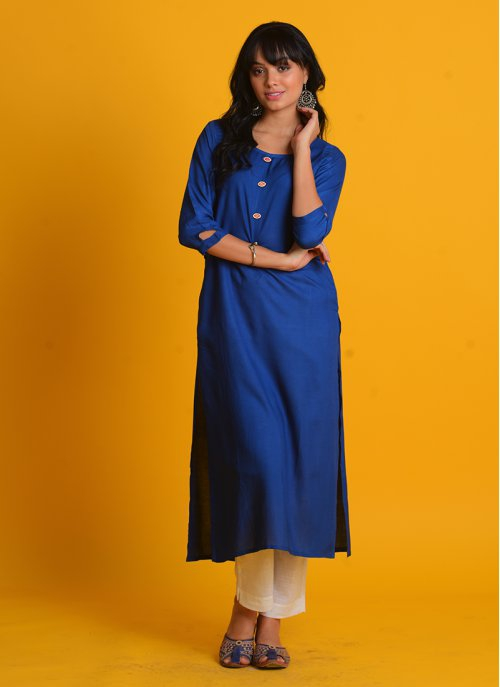 Craftsvilla Blue Cotton Blend Plain Straight Kurta With Pant Set