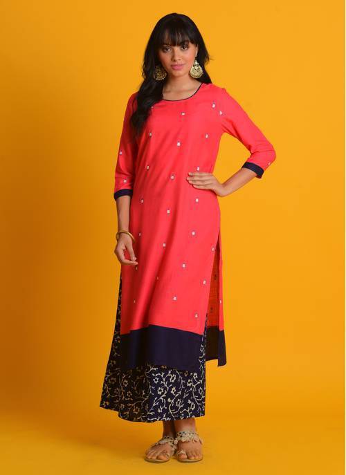 Craftsvilla Peach Cotton Blend Embroidered Straight Kurta With Palazzo Set