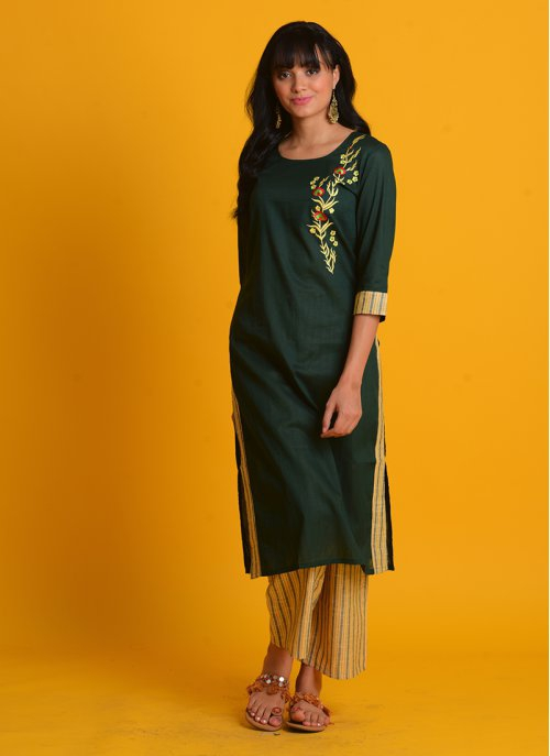 Craftsvilla Green Cotton Embroidered Straight Kurta With Palazzo Set