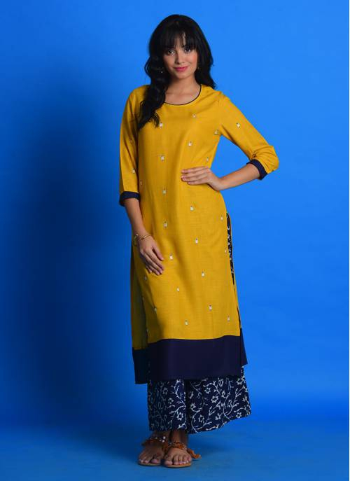 Craftsvilla Yellow Cotton Blend Embroidered Straight Kurta With Palazzo Set