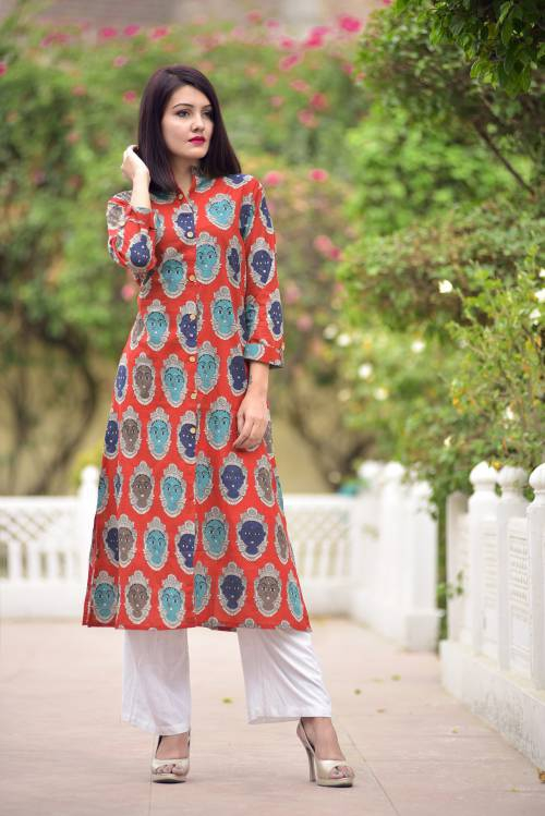 Red Printed Cotton A-line Kurta