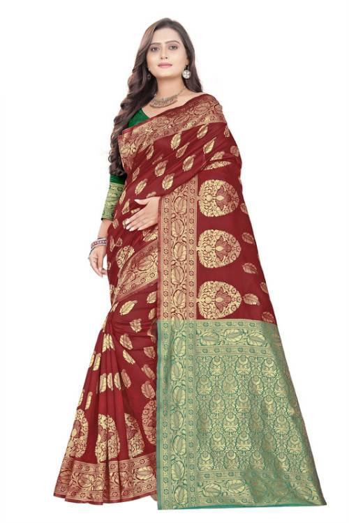 Fancywear Red Cotton Silk Woven Saree With Blouse Piece