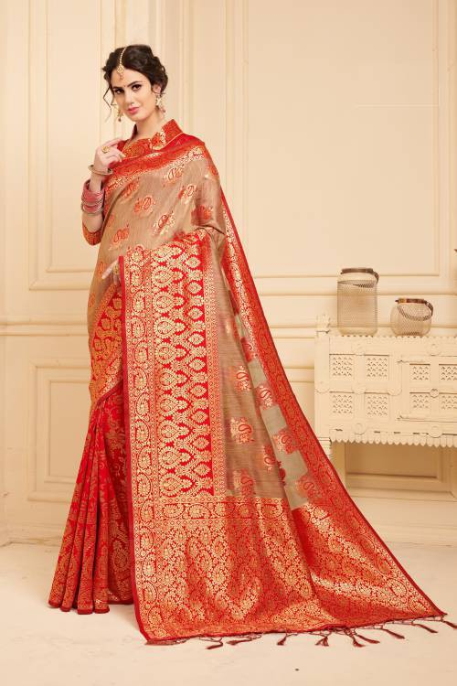 Red Linen Silk Woven Designer Saree With Unstitched Blouse Material