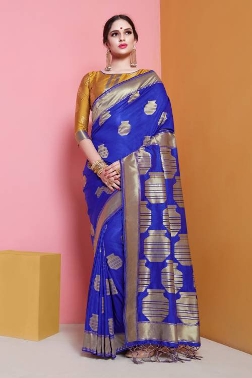 Craftsvilla Blue Silk Blend Designer Saree With Unstitched Blouse Material