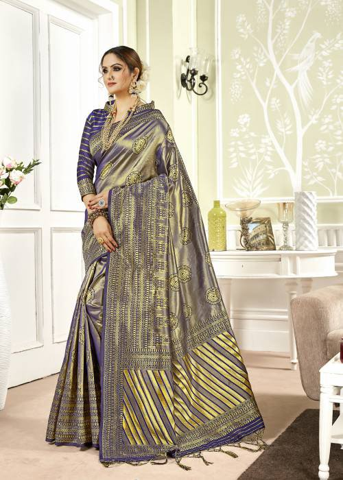 Navy Silk Blend Woven Designer Saree With Unstitched Blouse Material