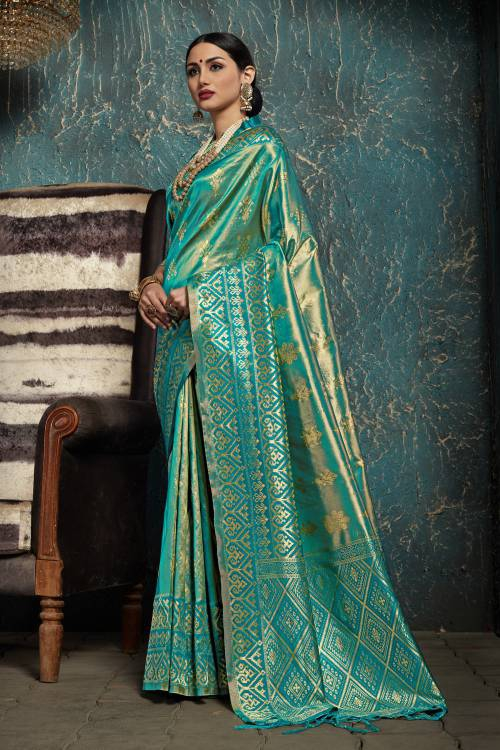 Turquoise Blue Kanjivaram Silk Jacquard Designer Saree With Unstitched Blouse Material