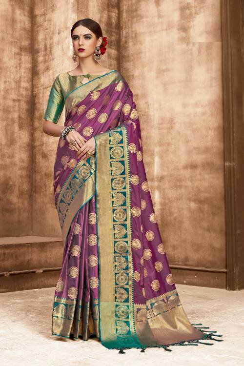Craftsvilla Purple Kanjivaram Silk Embellished Designer Saree With Unstitched Blouse Material