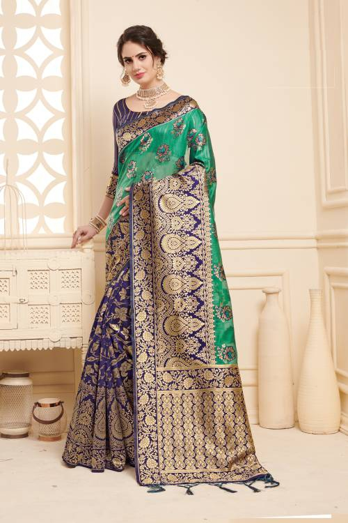 Blue Linen Silk Woven Designer Saree With Unstitched Blouse Material