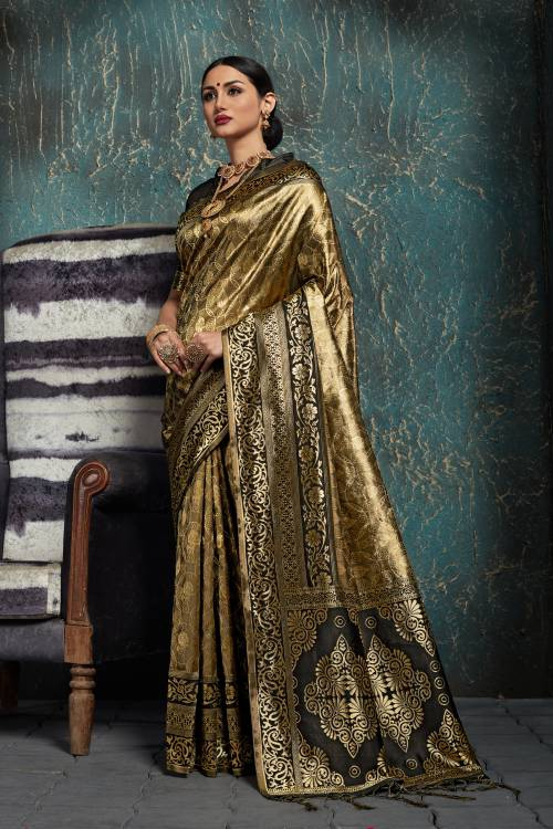 Black Kanjivaram Silk Jacquard Designer Saree With Unstitched Blouse Material