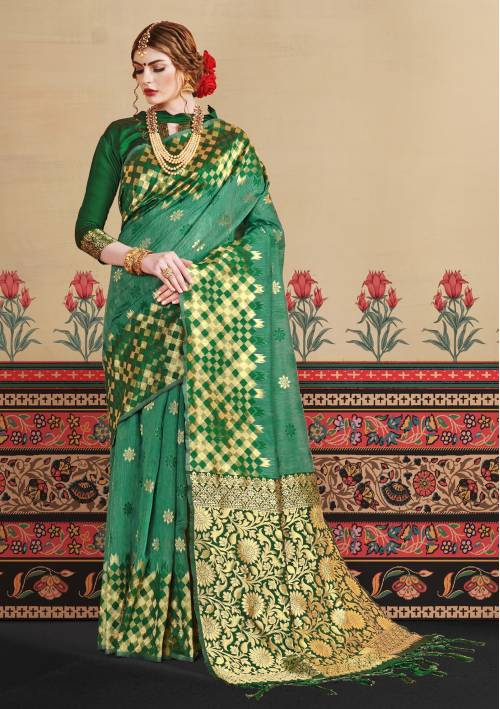 Craftsvilla Green Cotton Silk Designer Saree With Unstitched Blouse Material