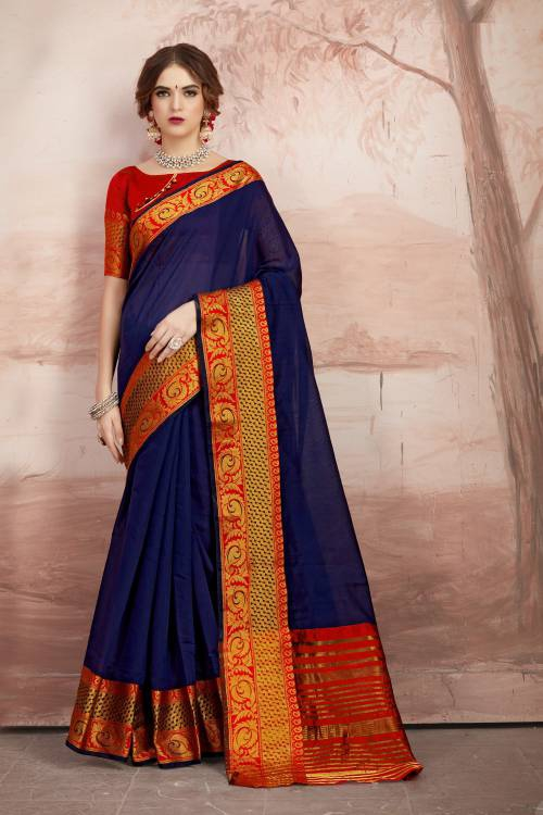 Craftsvilla Navy Blue Chanderi Cotton Designer Saree With Unstitched Blouse Material