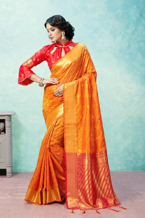Craftsvilla Orange Banarasi Silk Woven Partywear Saree With Unstitched Blouse Material
