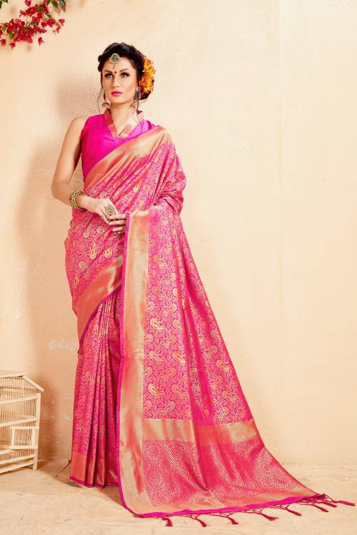Craftsvilla Pink Banarasi Silk Woven Partywear Saree With Unstitched Blouse Material
