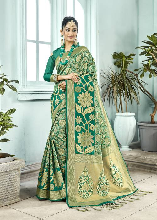Teal Green Silk Blend Woven Designer Saree With Unstitched Blouse Material