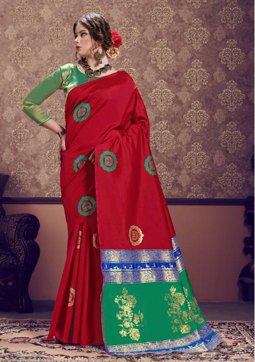 Craftsvilla Red Banarasi Silk Designer Saree With Unstitched Blouse Material