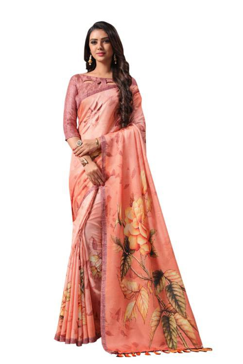 Craftsvilla Brown Linen Blend Printed Designer Saree With Unstitched Blouse Material