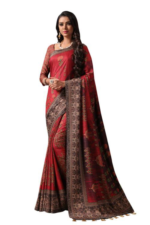 Craftsvilla Maroon Silk Blend Printed Designer Saree With Unstitched Blouse Material