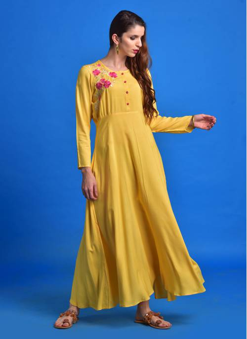 Kaira - A-line Kurta With Placement Embroidery