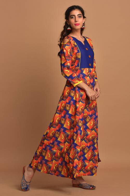 Blue Cotton Blend Printed Ankle Length Anarkali Kurti Dress