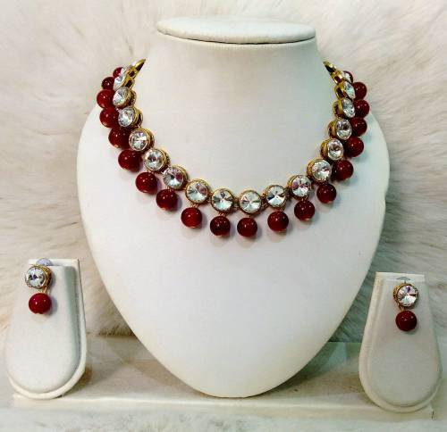 Jn Handicraft Necklace With Earrings Set