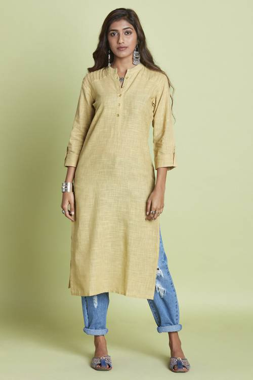 Beige Cotton Pintuck Calf Length Straight Kurti