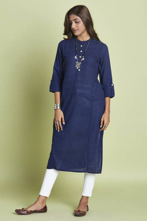 Navy Cotton Pintuck Calf Length Straight Kurti