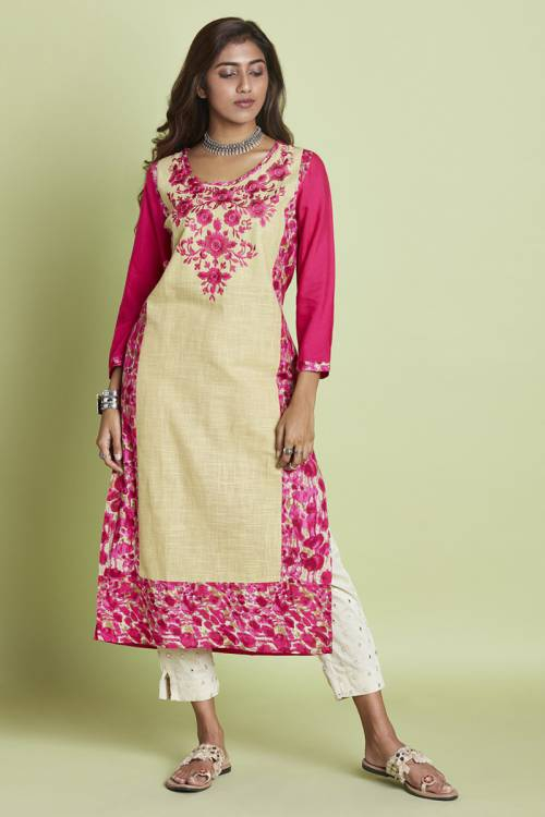 Pink Rayon Embroidered Calf Length Straight Kurti