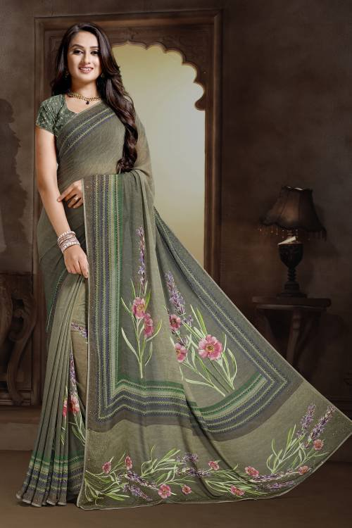 Craftsvilla Multicolor Bemberg Designer Saree With Unstitched Blouse Material