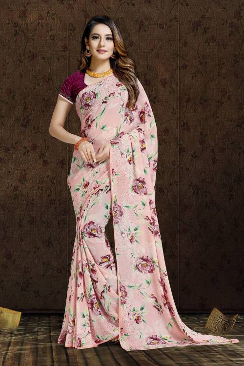 Craftsvilla Pink Bemberg Designer Saree With Unstitched Blouse Material