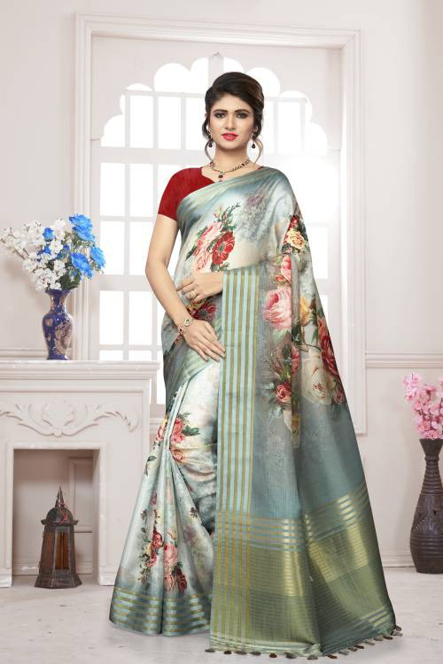 Craftsvilla Blue Silk Floral Printed Saree With Unstitched Blouse Piece