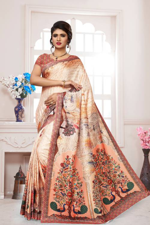 Craftsvilla Peach Pashmina Solid Saree With Unstitched Blouse Piece