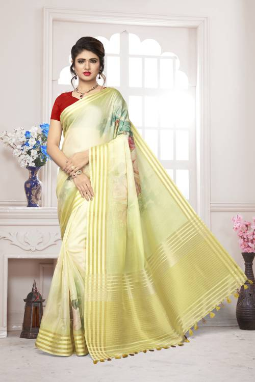 Craftsvilla Yellow Silk Floral Printed Saree With Unstitched Blouse Piece
