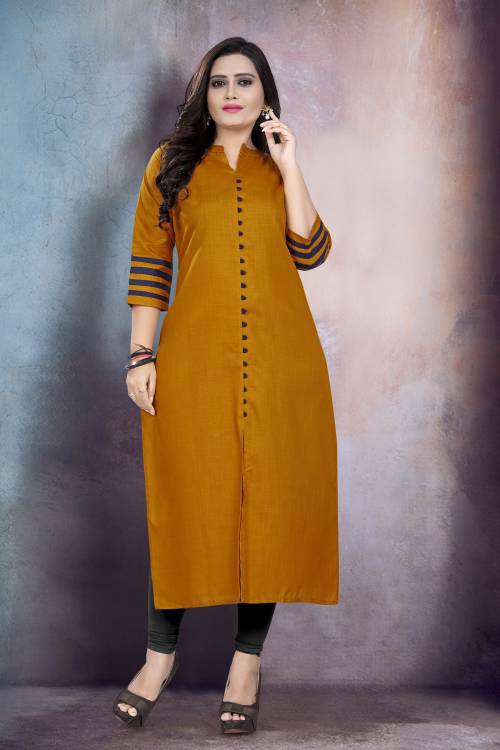 Mustard Cotton Blend Plain Straight Kurti