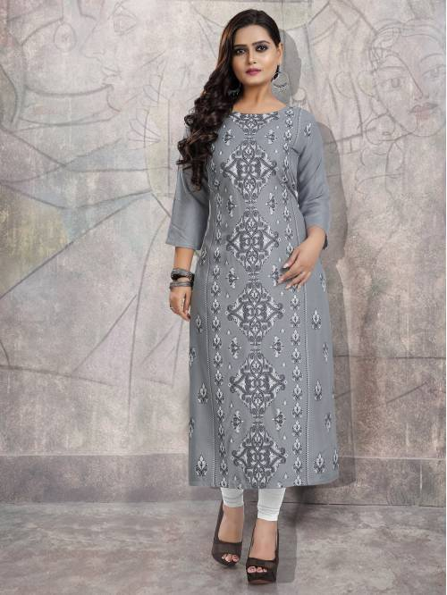 Grey Rayon Printed Straight Kurti