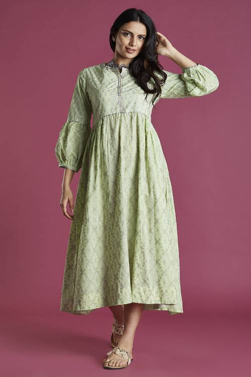 Printed Mint Colour Bishop Sleeves Kurti Dress