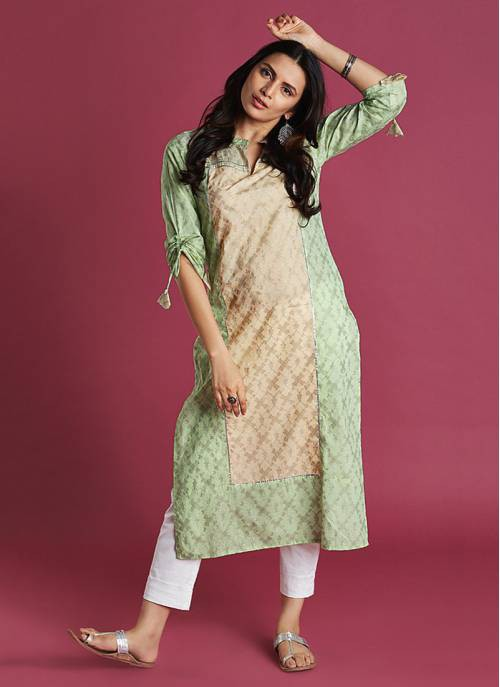 Printed Mint & Pastel Rose Colour Straight Kurti