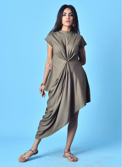 Ash Grey Mandarin Collar Kurti Dress With Mega Sleeves & Gathered Cowl Drape