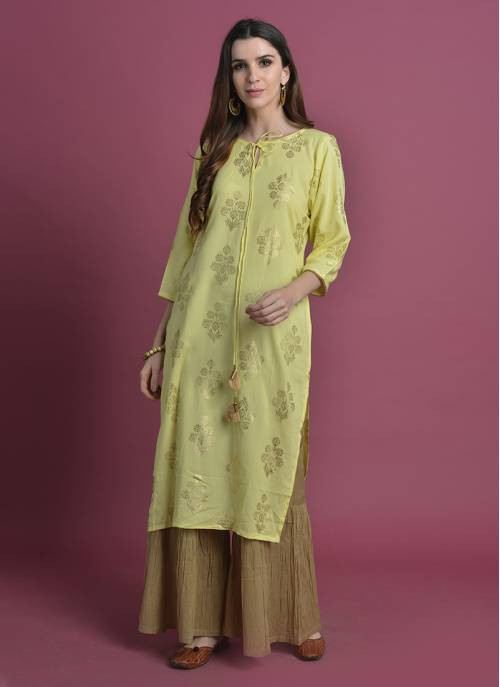 Saanjh-  Foil Printed Rayon Kurta With Gathered Palazzo