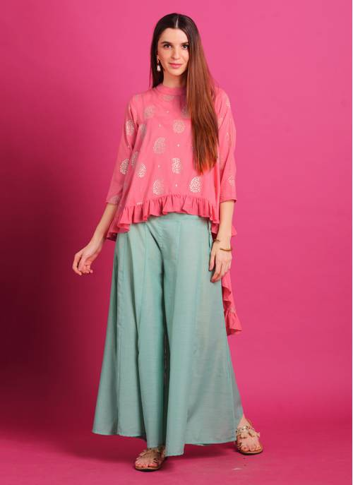 Blush Pink Rubber Foil Print Asymmetrical Top With Aqua Kalidar Palazzo. Note : Do Not Iron On Print