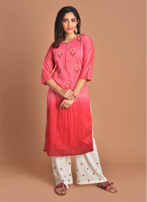 Inaayat Pink Pearl Embroidered Round Neck Kurta And White Bottom