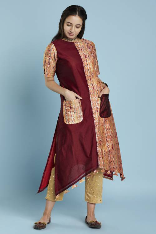 Maroon Colour Block High Low Hem Straight Cut Kurti With Front Patch Pockets & Tassels At Hem