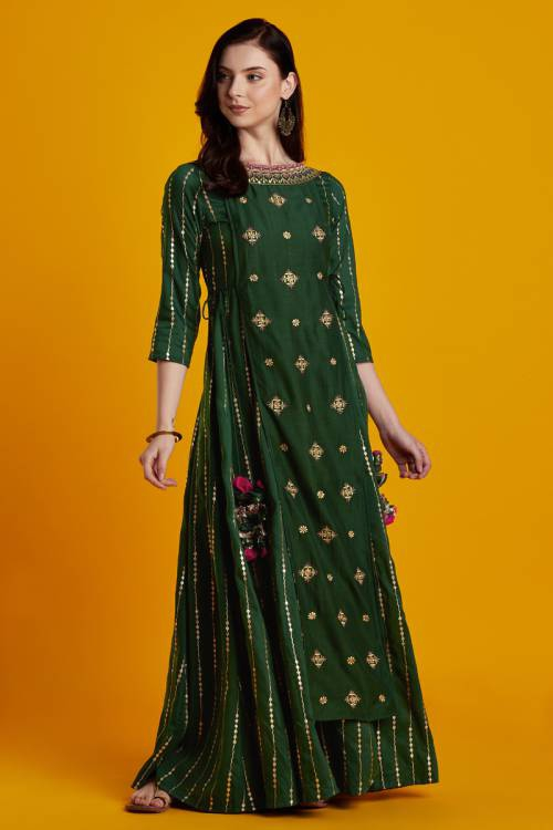 Anika- Emerald Green Golden Foil Embroidered Floor Length Layered Dress With 3/4th Sleeves And Tassels