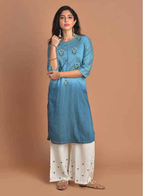 Inaayat Powder Blue Pearl Embroidered Kurta And White Bottom