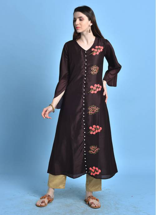 Imarti- Brown Color Kurta With Embroidered Details.