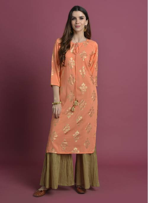 Kesar-  Foil Printed Rayon Kurta With Gathered Palazzo