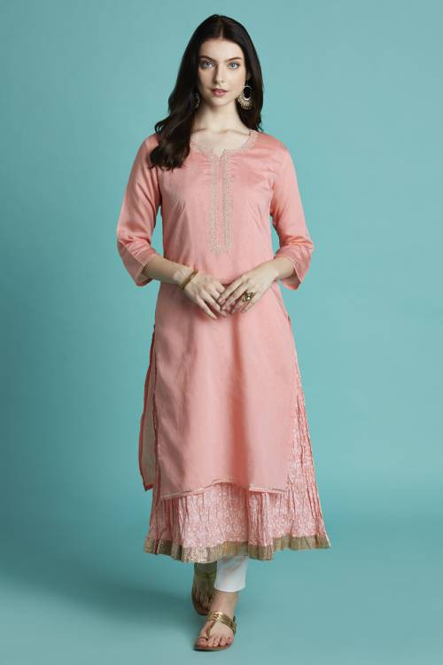 Layered Chanderi Kurti With Delicate Cord Embroidery And Khadi Print On Inner Layer.