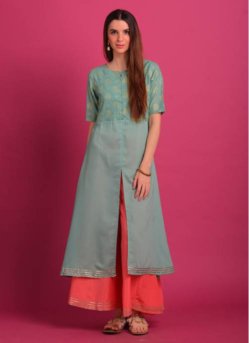 Aqua Color Rubber Foil Print Front Slit Kurti Paired With Blush Pink Palazzo. Note : Do Not Iron On Print