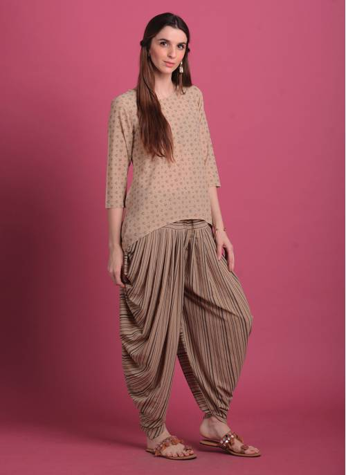 Maithali- Beige Asymmetrical Georgette Top With Dhoti Pants